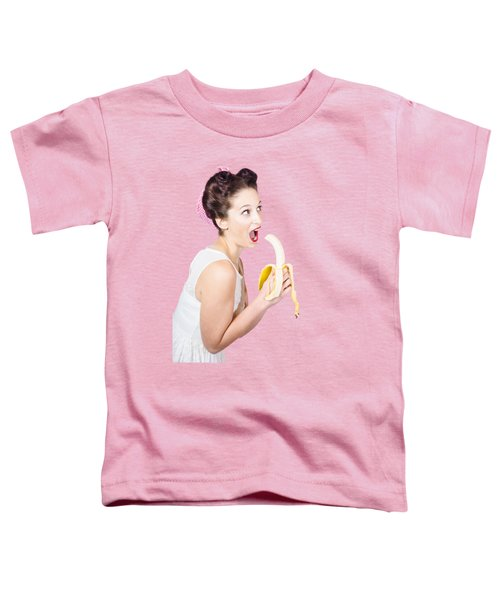 Pin-up Woman Eating Fruit On Studio Background Toddler T-Shirt