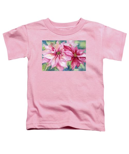Red And Pink Poinsettias Toddler T-Shirt