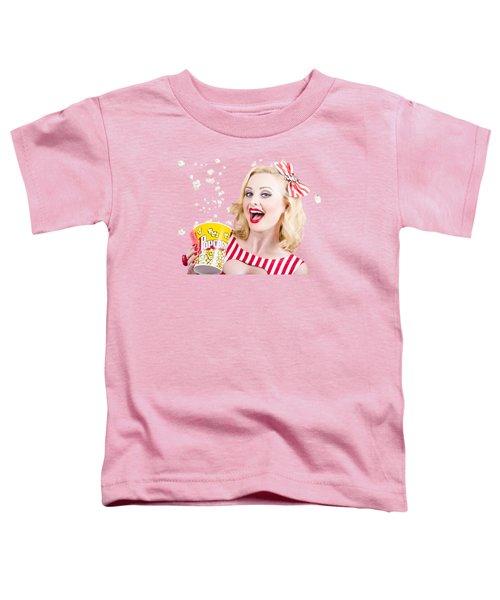 Retro Girl Taking Popcorn To Cinema Toddler T-Shirt