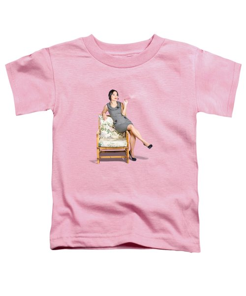 Retro Woman On Lounge Chair With Cigarette Holder Toddler T-Shirt