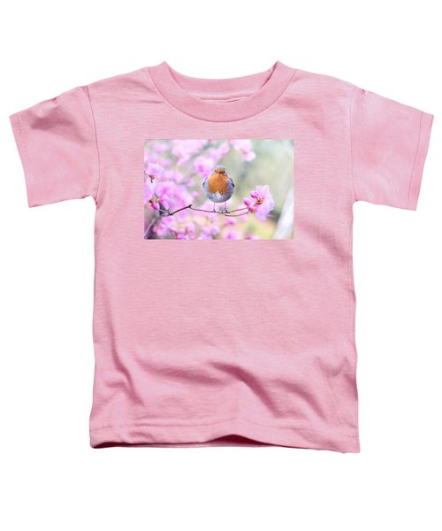 Robin On Pink Flowers Toddler T-Shirt