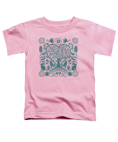 Rustic Early American Tree Of Life Woodcut Toddler T-Shirt