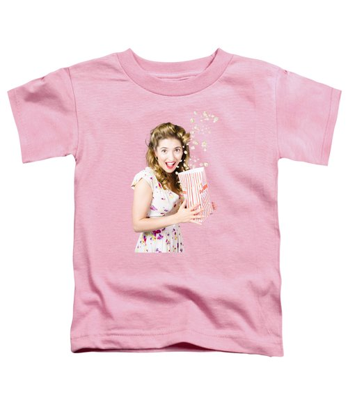 Shock Horror Pinup Girl Watching Scary Movie Toddler T-Shirt