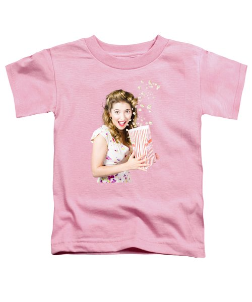 Shock Horror Pinup Girl Watching Scary Movie Toddler T-Shirt