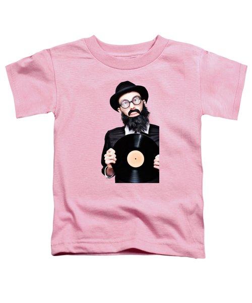 Sixties Retro Rock Man Holding Music Record Vinyl Toddler T-Shirt
