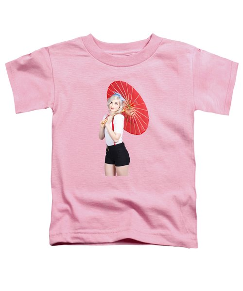 Smiling Retro Woman Holding A Red Umbrella  Toddler T-Shirt