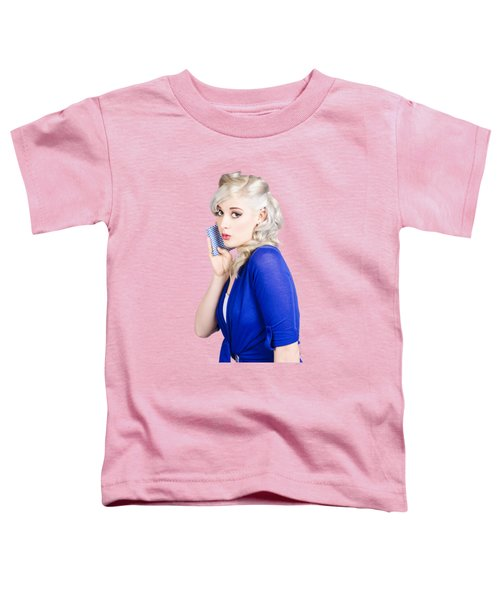 Surprised Pin Up Girl With Wash Cloth Toddler T-Shirt
