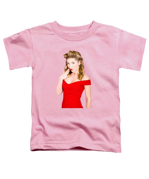 Surprised Retro Pinup Girl On Pink Background Toddler T-Shirt