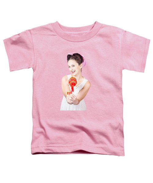 Sweet Lolly Shop Lady Offering Over Red Lollipop Toddler T-Shirt
