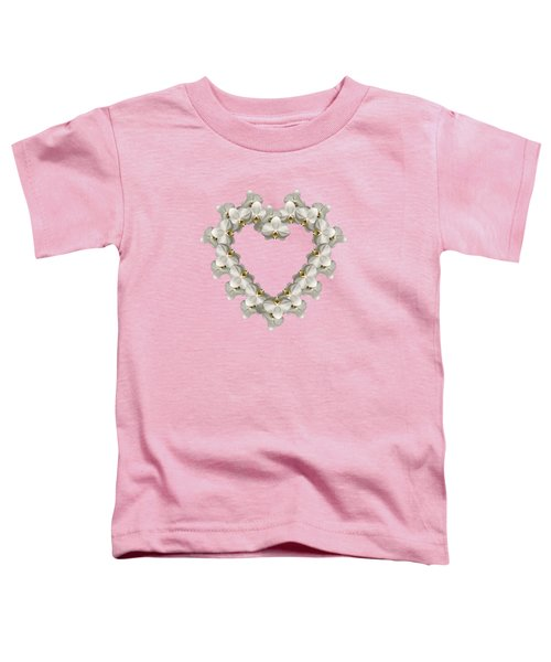White Orchid Floral Heart Love And Romance Toddler T-Shirt