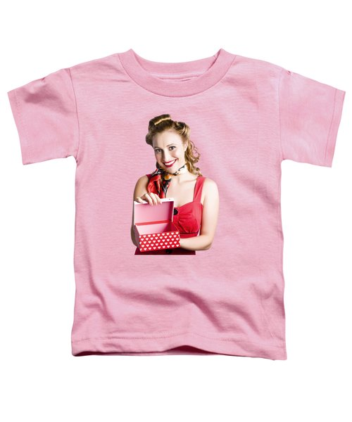 Woman Holding Gift Box Toddler T-Shirt