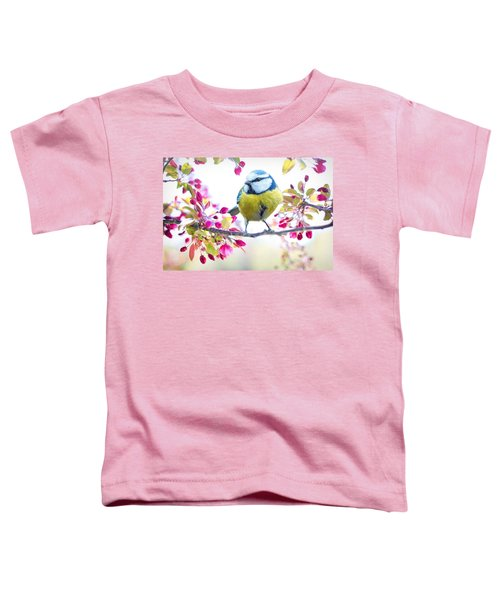 Yellow Blue Bird With Flowers Toddler T-Shirt