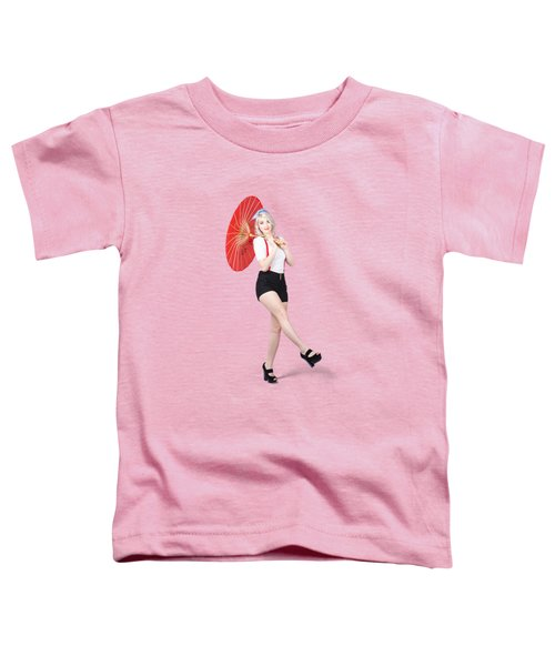 Young Beautiful Pin Up Woman Posing With Umbrella Toddler T-Shirt