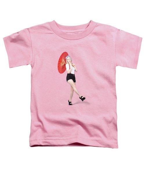 Young Beautiful Pin Up Woman Posing With Umbrella Toddler T-Shirt