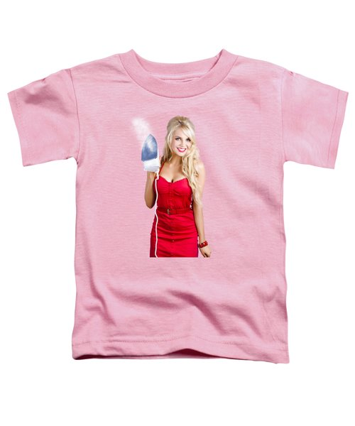 Young Blond Woman With Iron Toddler T-Shirt