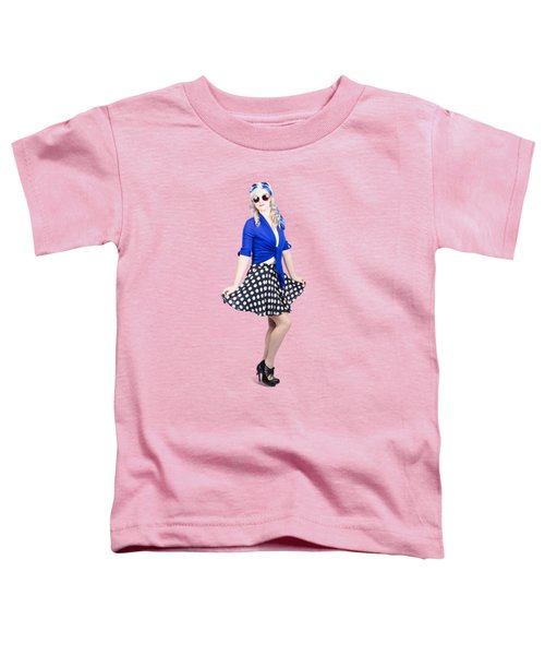 Young Stylish Pinup Woman Posing For Photo Toddler T-Shirt