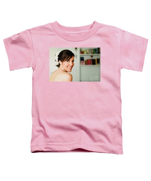 Young Woman From Behind Smiling Toddler T-Shirt