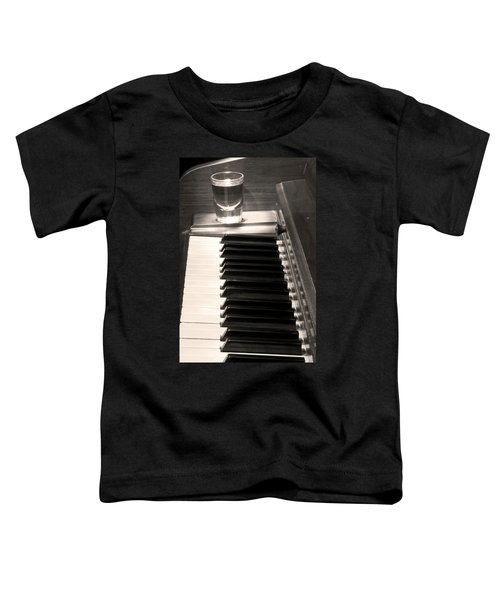A Shot Of Bourbon Whiskey And The Bw Piano Ivory Keys In Sepia Toddler T-Shirt