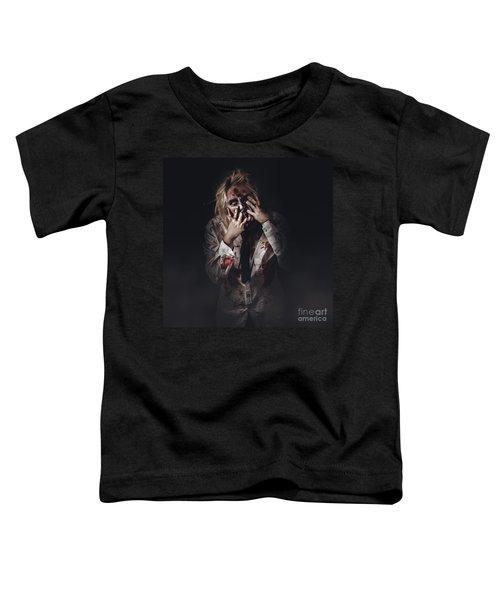 Dark Halloween Portrait. Scary Evil Zombie Toddler T-Shirt