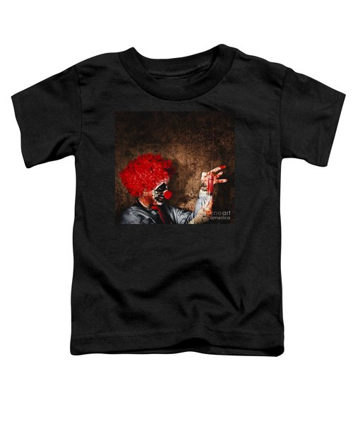 Evil Halloween Clown With Big Scary Needle Toddler T-Shirt