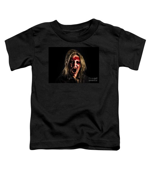 Evil Zombie Girl Screaming Out In Bloody Horror Toddler T-Shirt