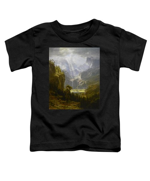 Toddler T-Shirt featuring the painting The Rocky Mountains Lander's Peak by Celestial Images