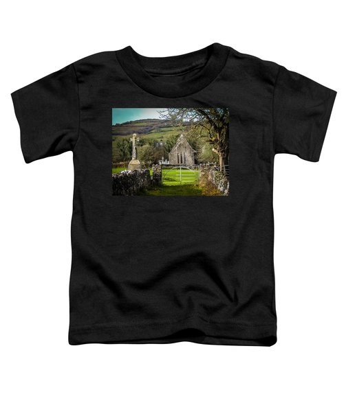 Toddler T-Shirt featuring the photograph 12th Century Cross And Church In Ireland by James Truett