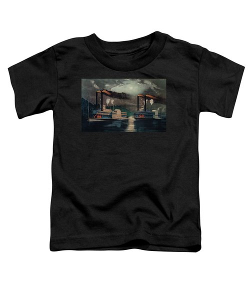 1800s 1860s Two Steamboats Midnight Toddler T-Shirt
