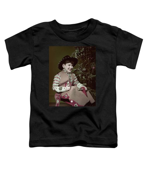 1950s Smiiling Boy Cowboy Hat Costume Toddler T-Shirt