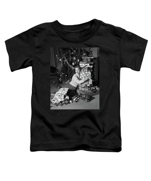 1950s Young Smiling Woman Sitting Toddler T-Shirt