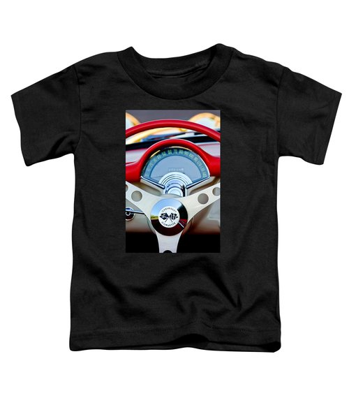 1957 Chevrolet Corvette Convertible Steering Wheel Toddler T-Shirt