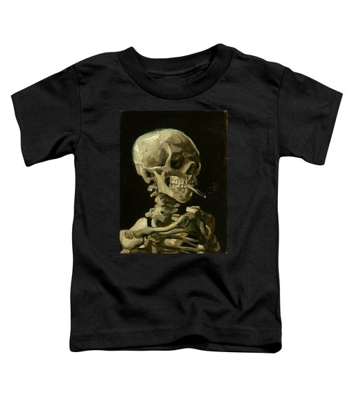 Head Of A Skeleton With A Burning Cigarette Toddler T-Shirt