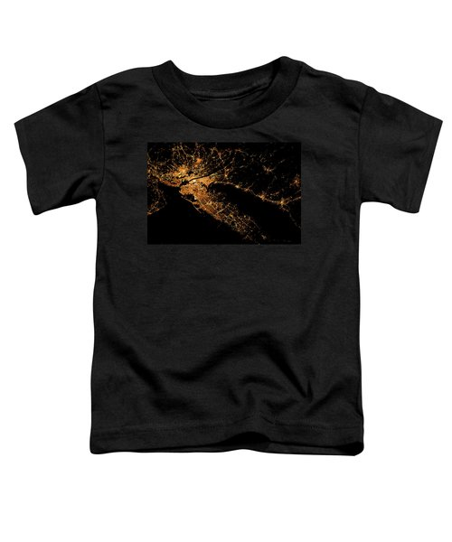 Night Time Satellite Image Of New York Toddler T-Shirt