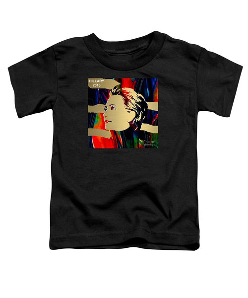 Toddler T-Shirt featuring the mixed media Hillary Clinton Gold Series by Marvin Blaine