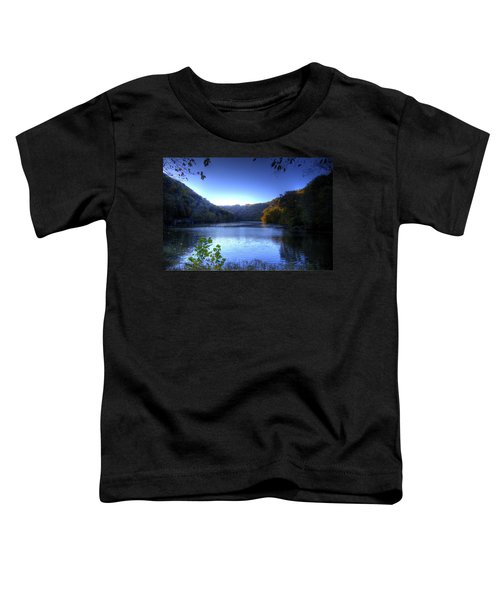 Toddler T-Shirt featuring the photograph A Blue Lake In The Woods by Jonny D