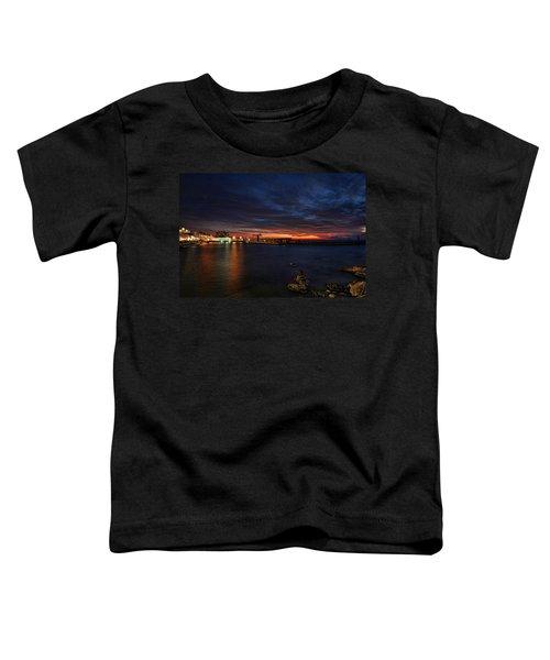 a flaming sunset at Tel Aviv port Toddler T-Shirt