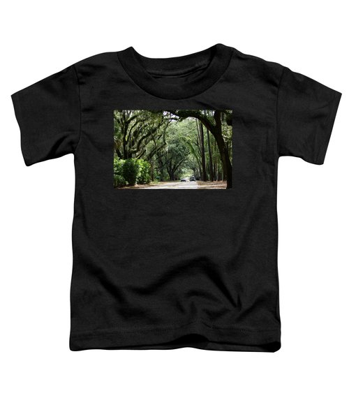 A Pretty Tree Covered Road Somewhere On Hilton Head Island Toddler T-Shirt