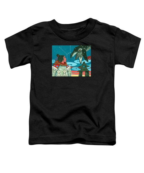 Toddler T-Shirt featuring the painting A Study For Whale Dreamer by Chholing Taha