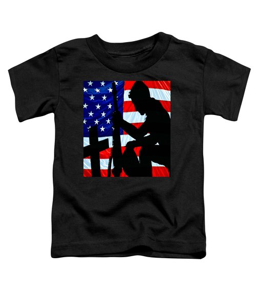 A Time To Remember American Flag At Rest Toddler T-Shirt by Bob Orsillo