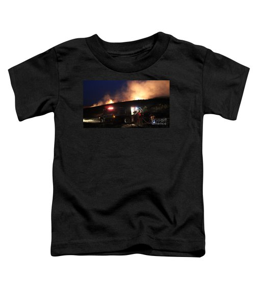 An Engine Crew Works At Night On White Draw Fire Toddler T-Shirt