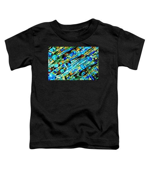 Aqua Brown Jade Gold Abstract Alcohol Inks Toddler T-Shirt