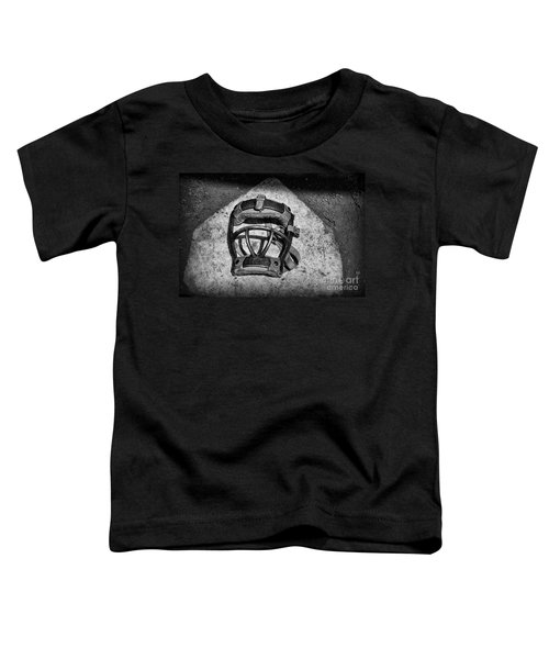 Baseball Catchers Mask Vintage In Black And White Toddler T-Shirt