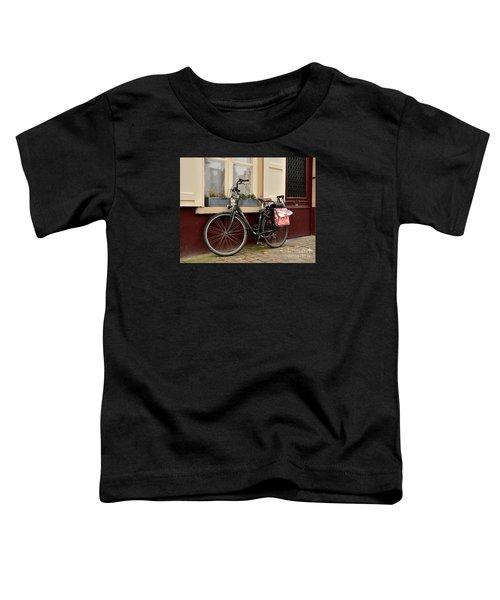 Bicycle With Baby Seat At Doorway Bruges Belgium Toddler T-Shirt