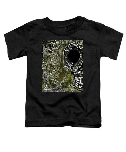 Black Sunflower Skull Toddler T-Shirt