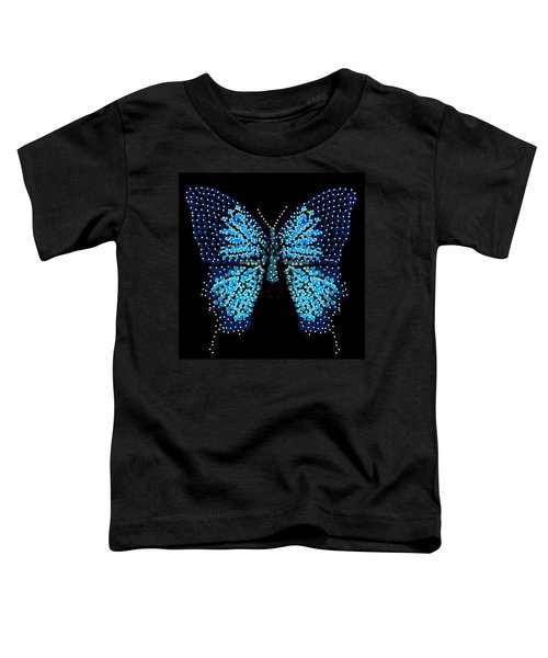 Blue Butterfly Black Background Toddler T-Shirt
