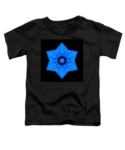 Blue Pansy II Flower Mandala Toddler T-Shirt