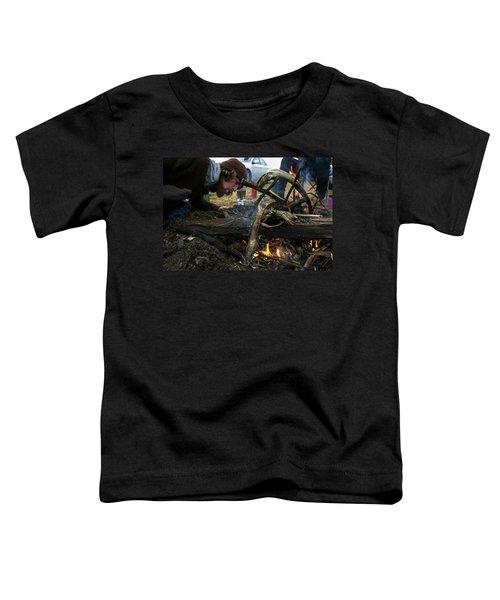Building A Fire A Camp After A Day Toddler T-Shirt