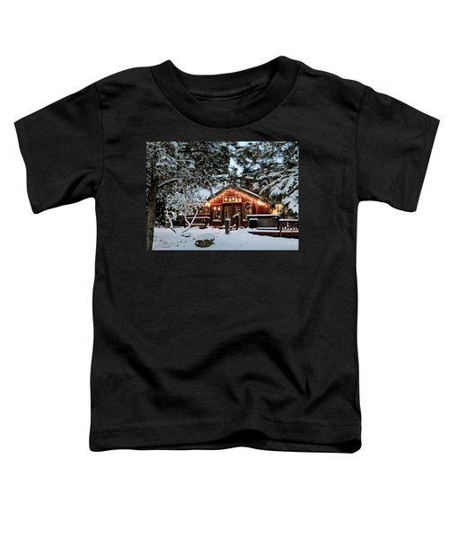 Cabin With Christmas Lights Toddler T-Shirt
