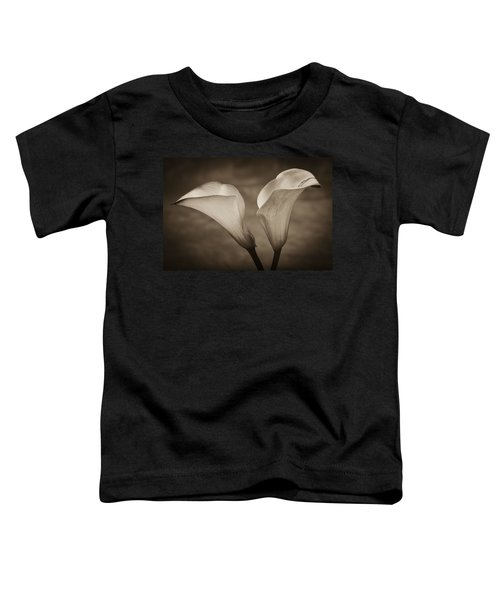 Toddler T-Shirt featuring the photograph Calla Lilies In Sepia by Sebastian Musial