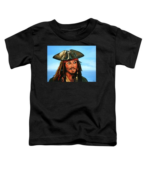 Captain Jack Sparrow Painting Toddler T-Shirt by Paul Meijering